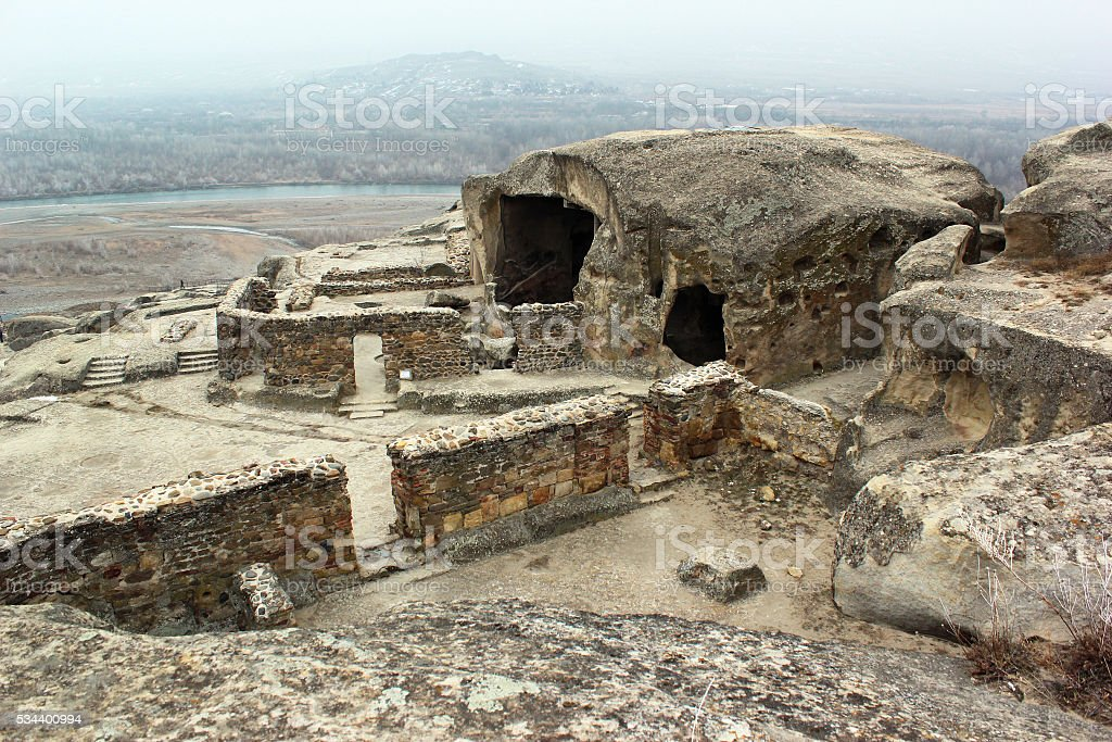 Ancient cave pagan city Uplistsihe, Georgia at wintertime stock photo