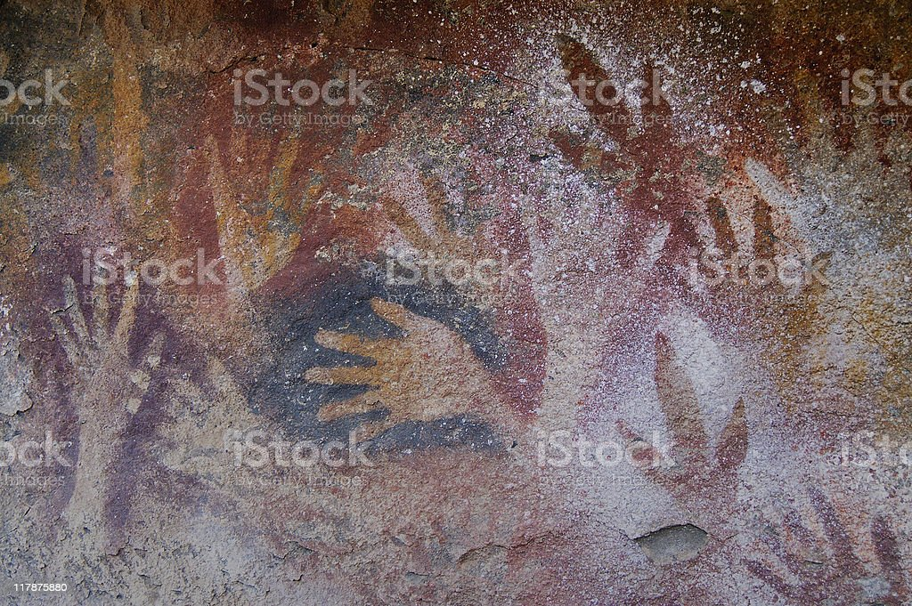 Ancient Cave Paintings in Patagonia stock photo