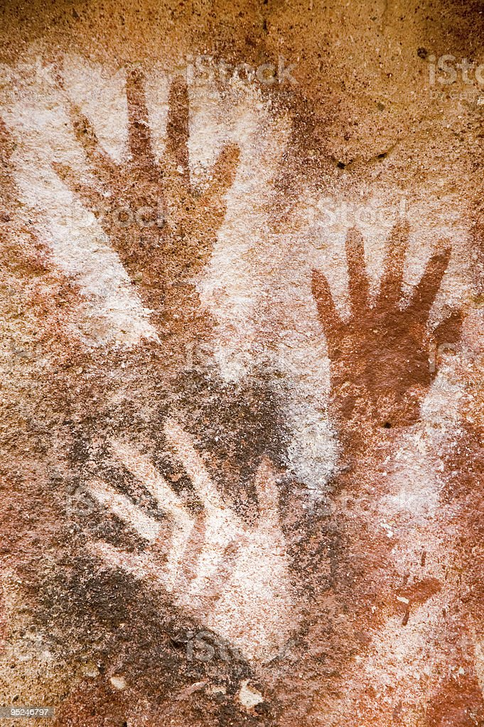 Ancient cave paintings in Patagonia. stock photo