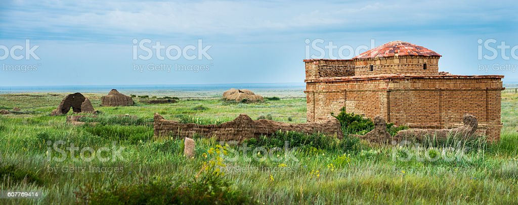 Ancient cemetery on the archaeological monument Terekty-Aulie stock photo