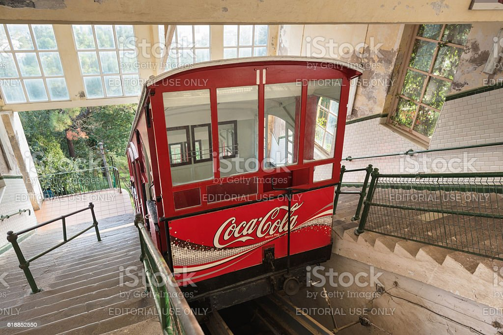 Ancient centenary funicular train of Igueldo mount, San Sebastian. stock photo