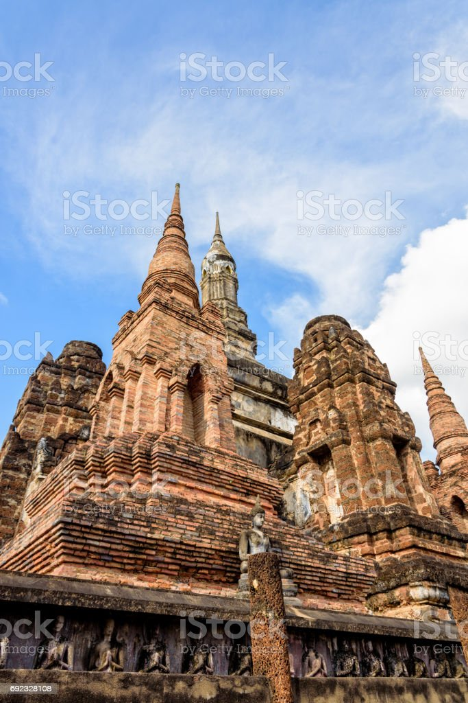 Ancient chapel in Sukhothai Historical Park stock photo