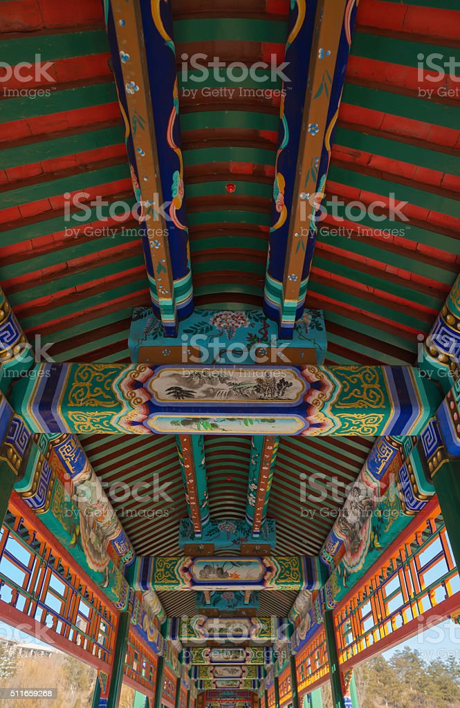 ancient chinese architecture with beautiful painting decoration,structure stock photo