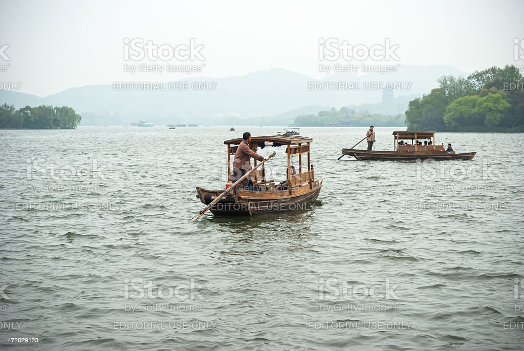 Ancient chinese cruise ship stock photo