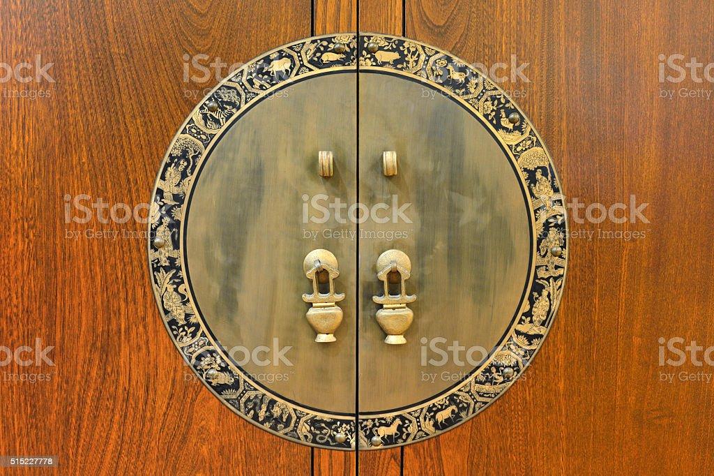 Ancient Chinese Door Knockers stock photo