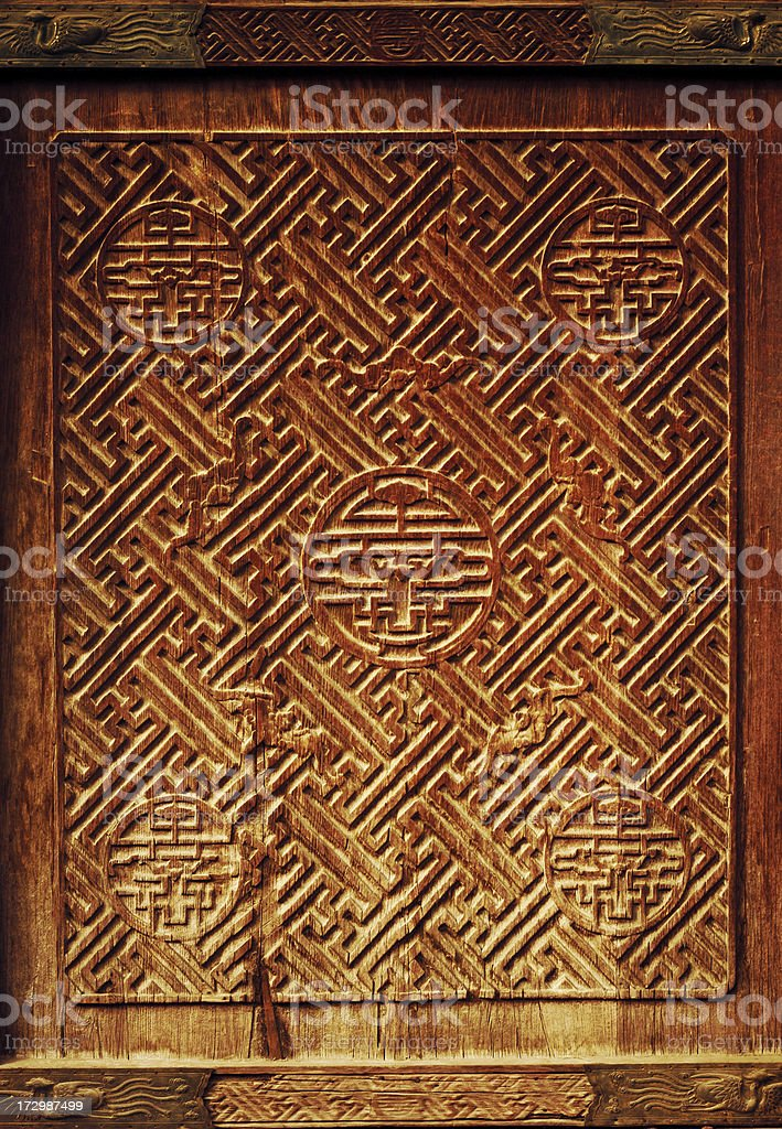 Ancient Chinese doors detail royalty-free stock photo