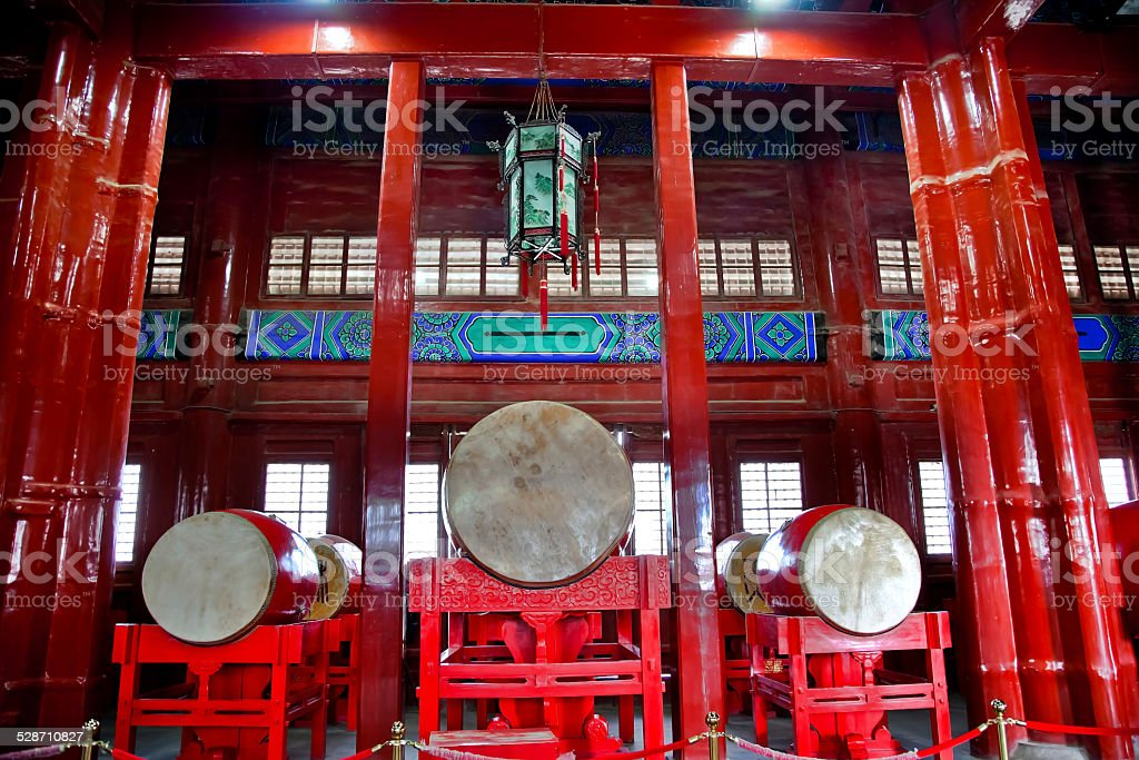 Ancient Chinese Drums Drum Tower Beijing, China stock photo