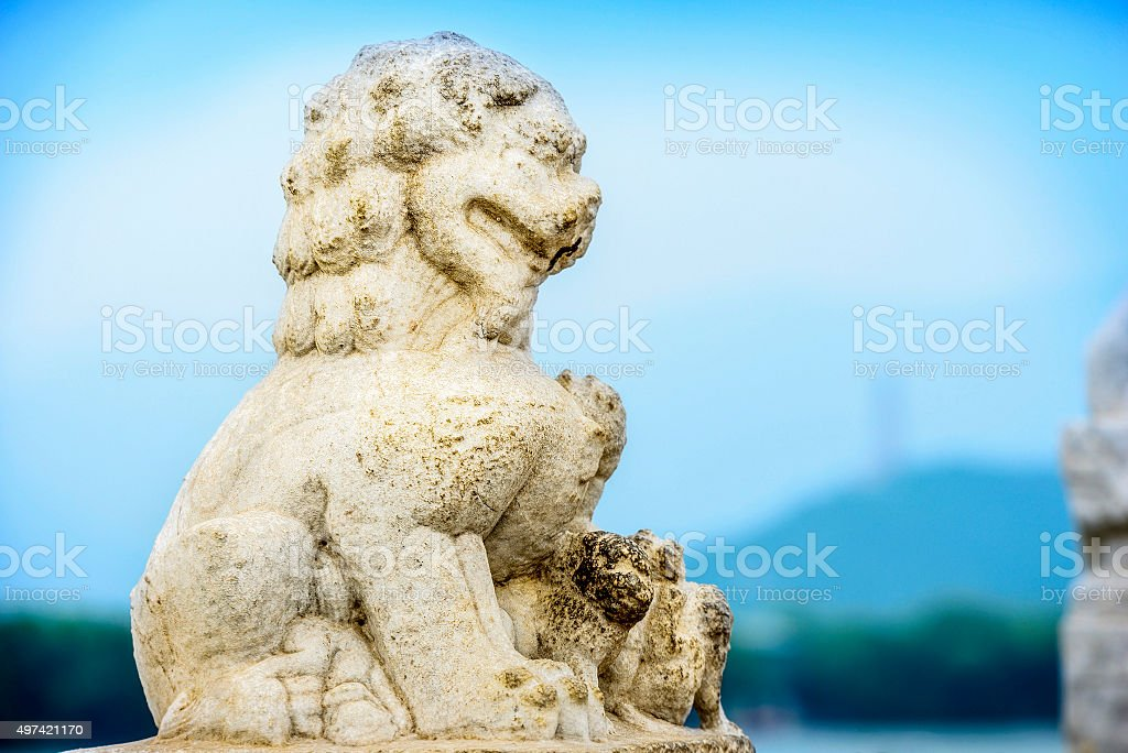 Ancient Chinese guardian stock photo