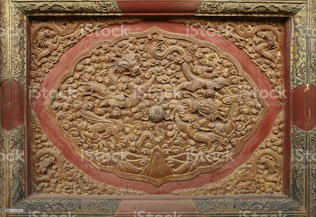 Ancient Chinese Relief with Two Dragons royalty-free stock photo