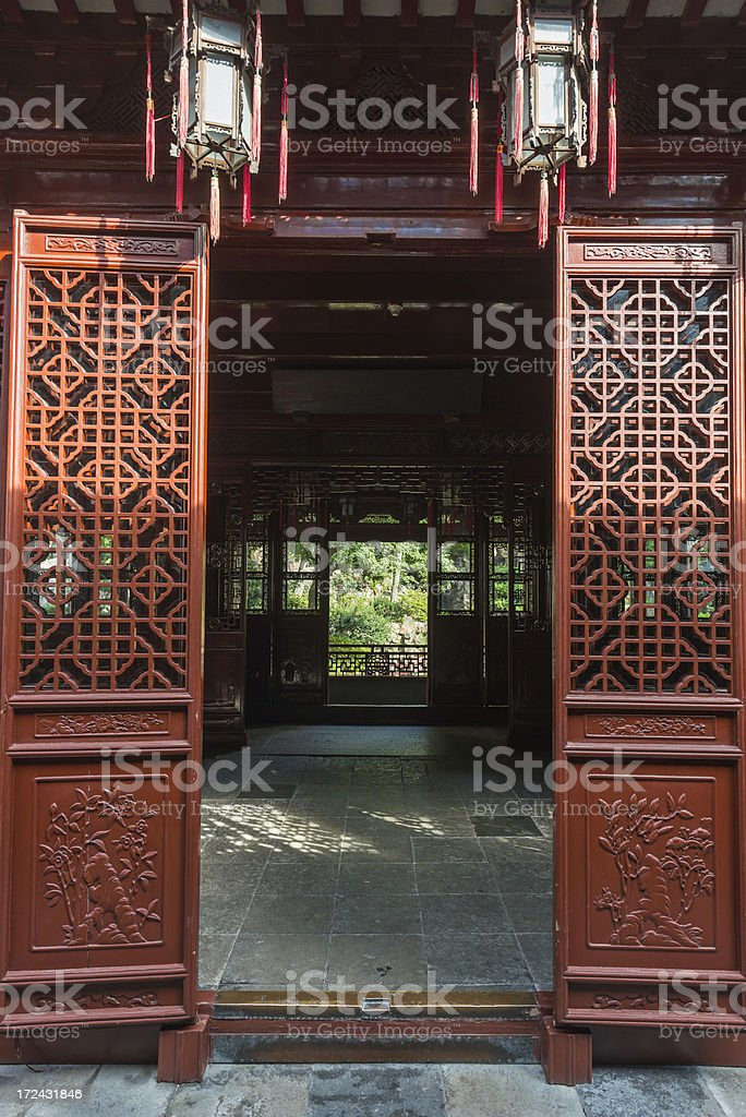 Ancient Chinese temple screen doors lanterns Shanghai stock photo