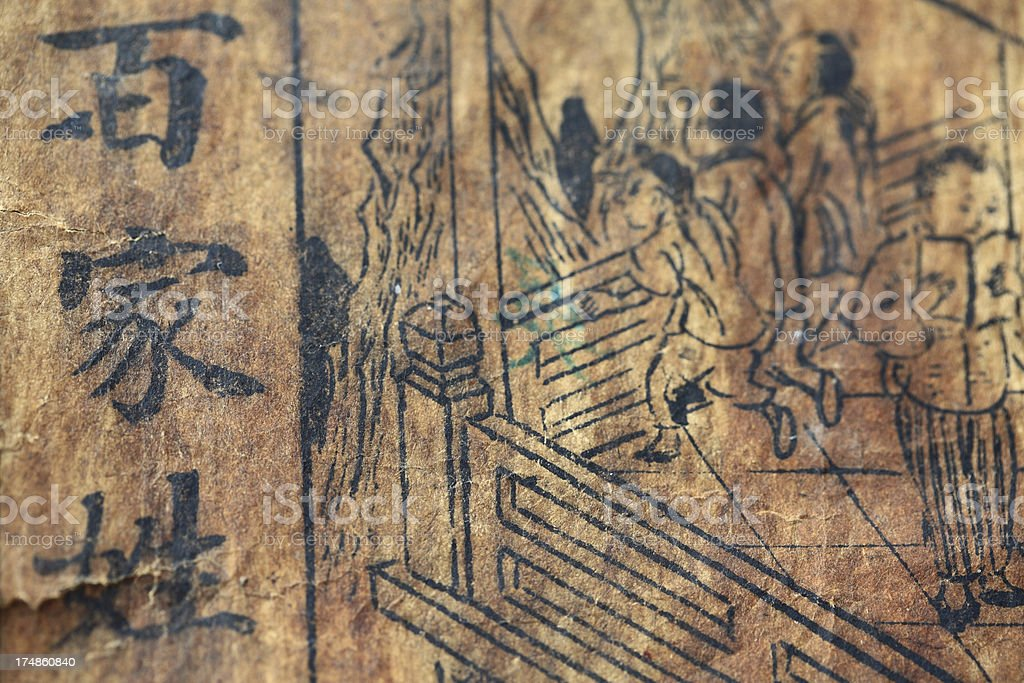 Ancient Chinese textbook manuscripts: Surnames stock photo