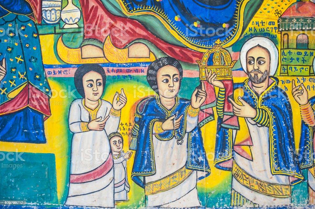 Ancient christian wall paintings in an Ethiopian Church, Lake Tana stock photo