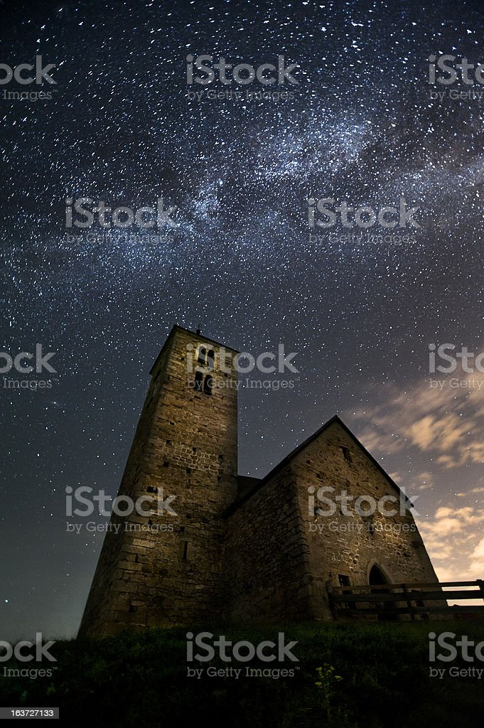 Ancient church and Milky Way stock photo