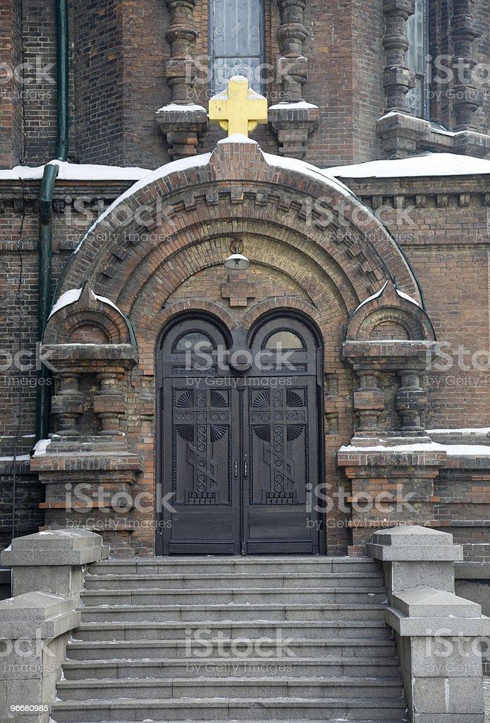 ancient church door stock photo