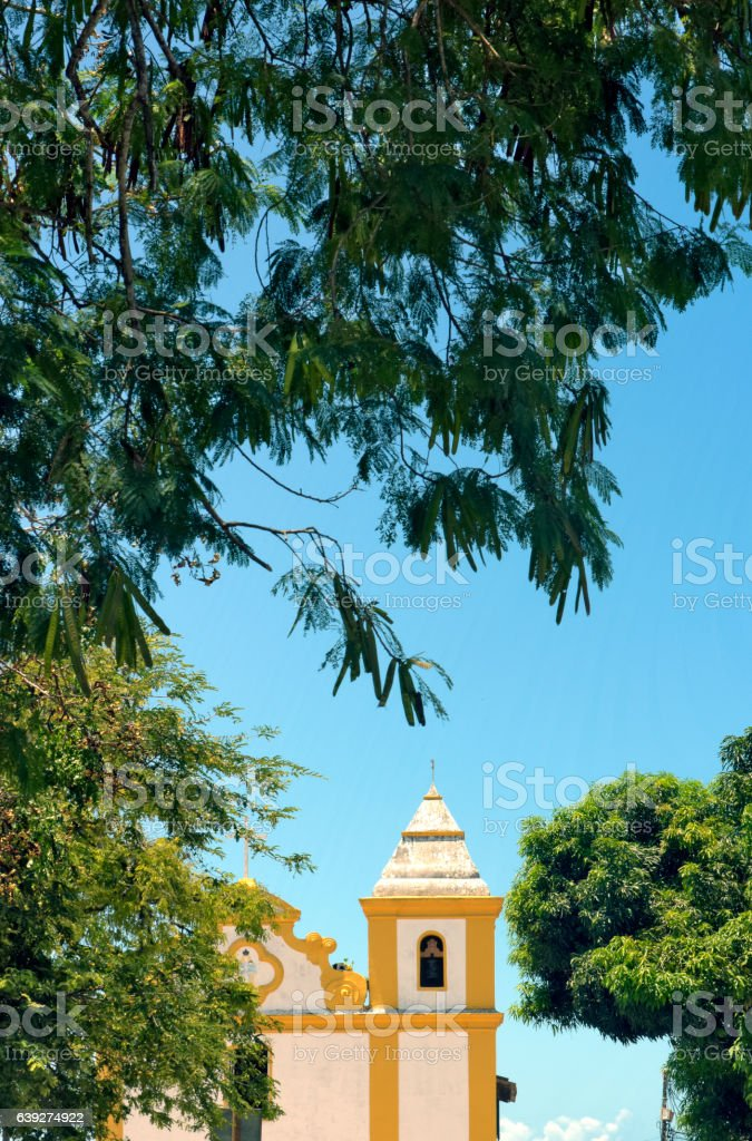 Ancient church in colonial style in southern Bahia, Brazil stock photo