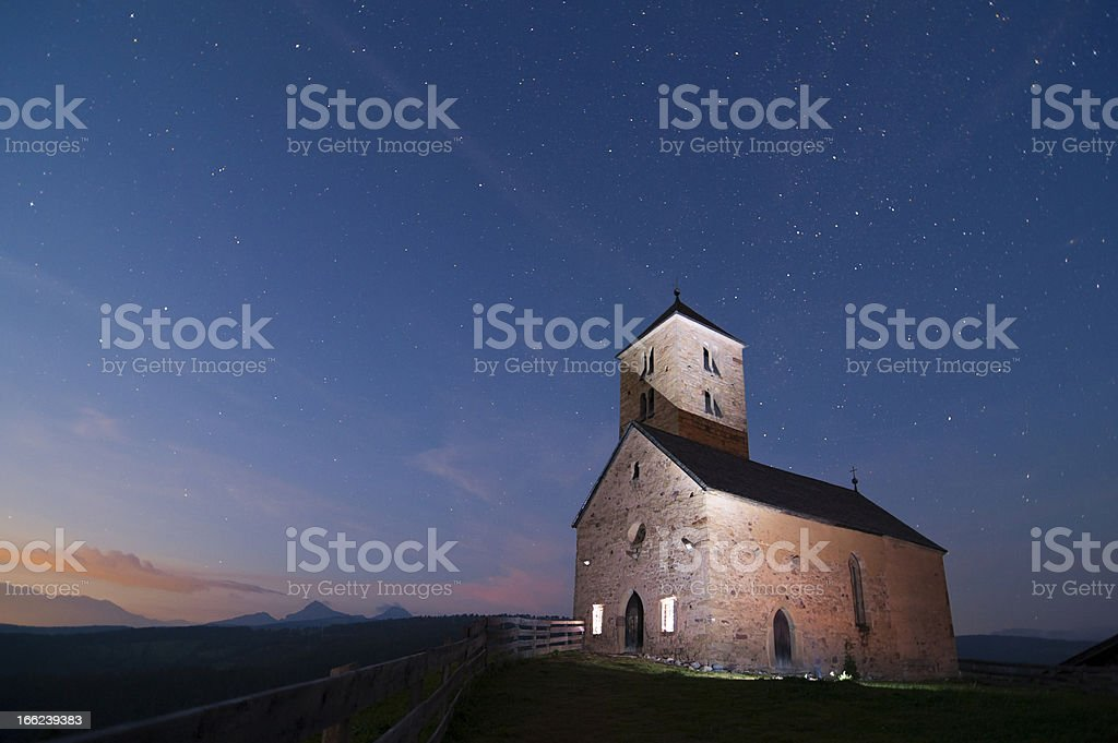 Ancient church in the mountains at night royalty-free stock photo