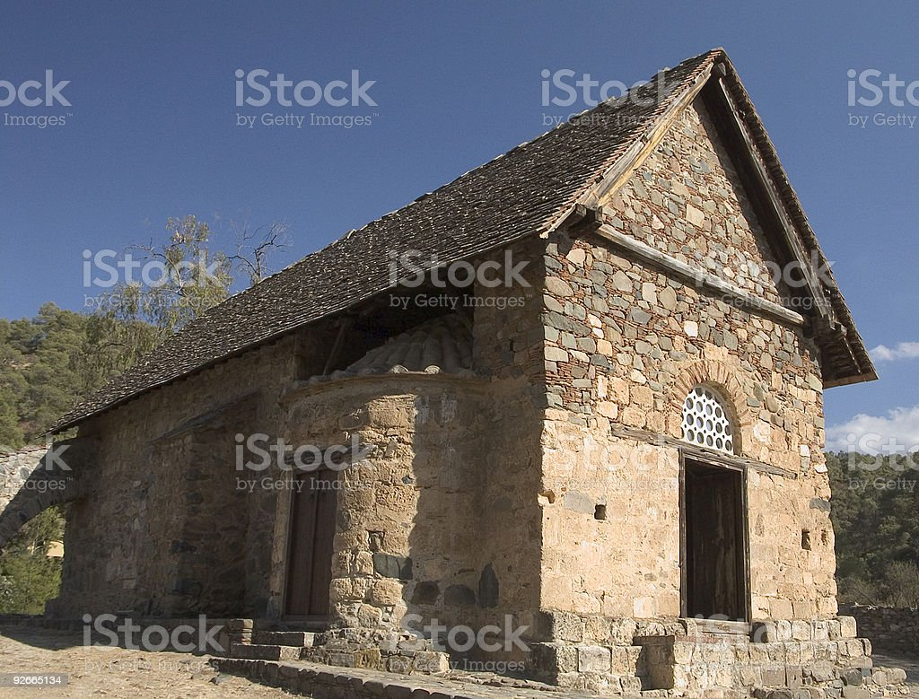 Ancient  Church of Asinou, Cyprus royalty-free stock photo