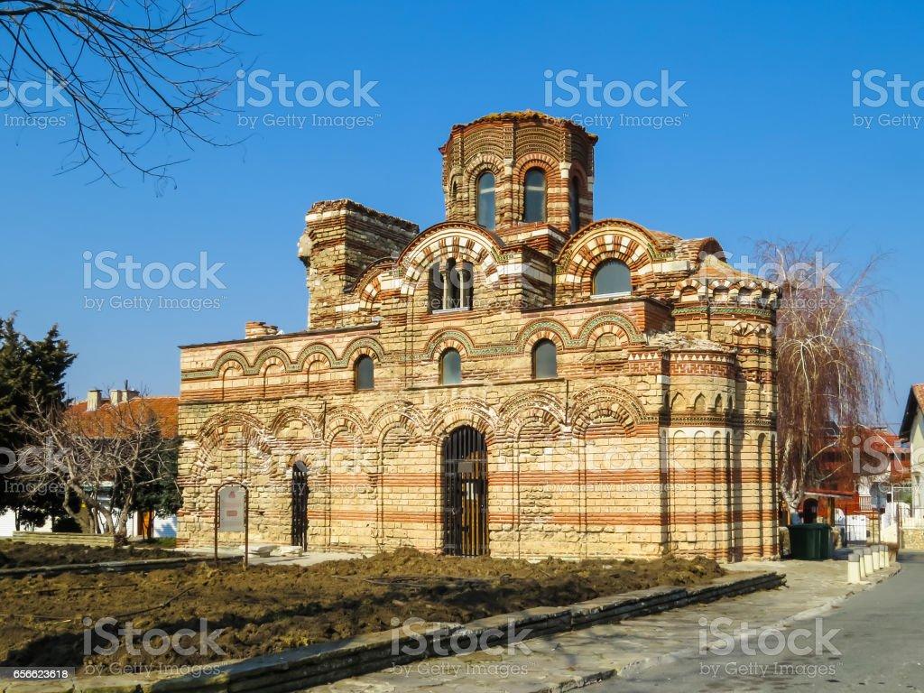 Ancient Church of Christ Pantocrator. Old Nessebar, Bulgaria stock photo