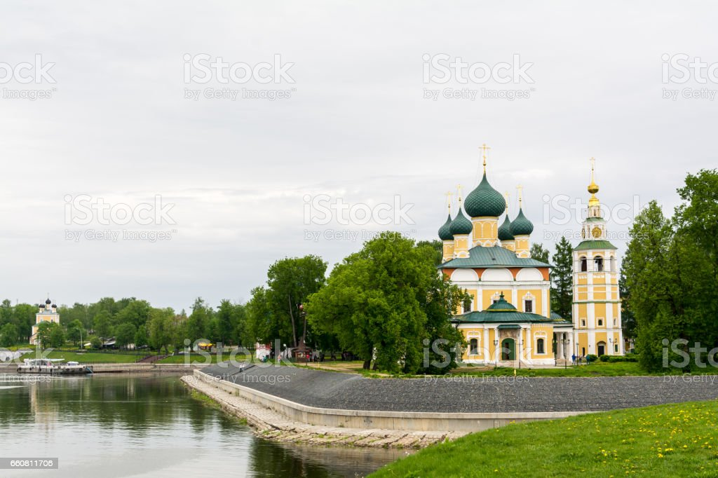 Ancient Church of Frol and Lavr on the bend of Volga the river stock photo