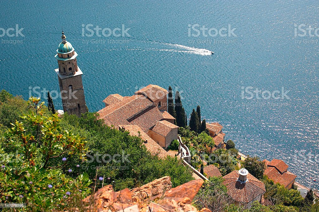 Ancient church Santa Maria del Sasso stock photo