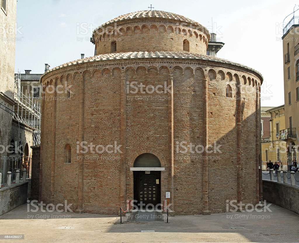 ancient circular shaped Romanesque church named Rotonda di San L stock photo