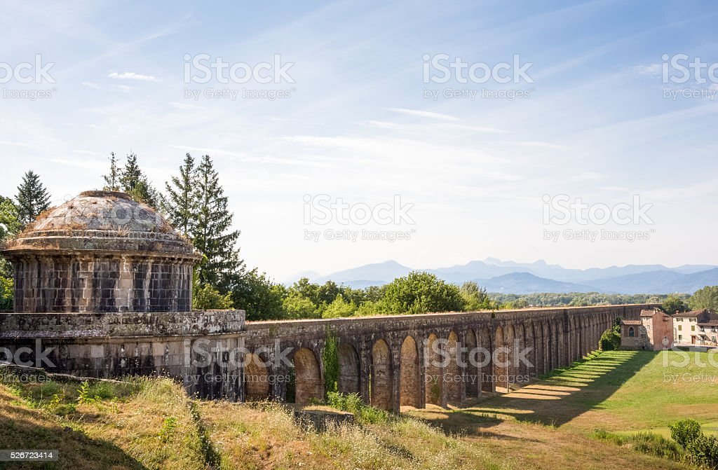 Ancient Cistern and Aqueduct with Copy Space stock photo