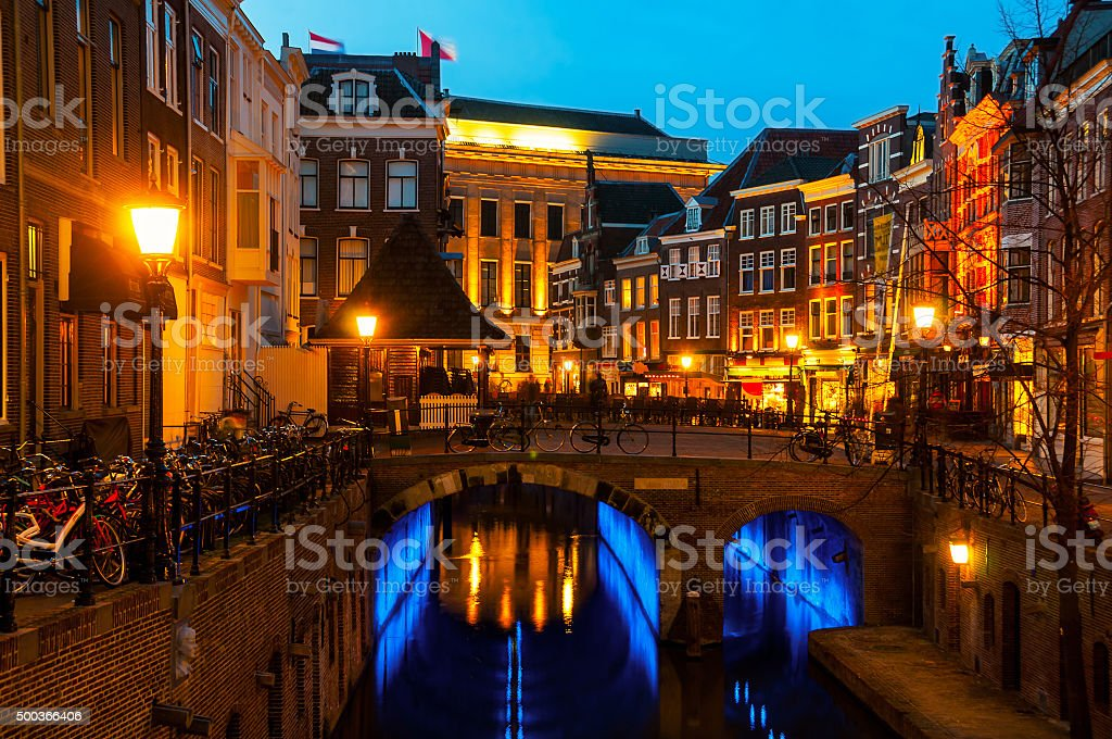 Ancient city center of Utrecht, Netherlands stock photo