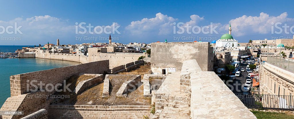 Ancient city of Akko in the morning. Israel stock photo