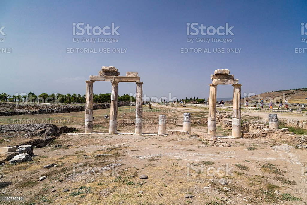 Ancient city of Hierapolis in Pamukkale, Turkey stock photo