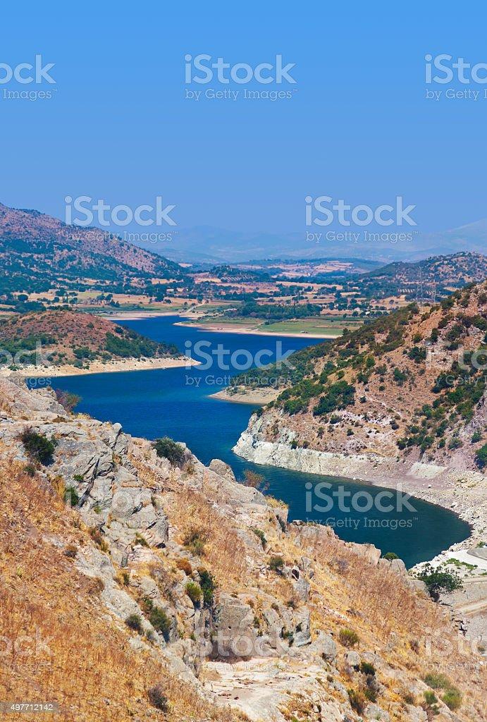 ancient city of Pergamon to the lake - Turkey stock photo