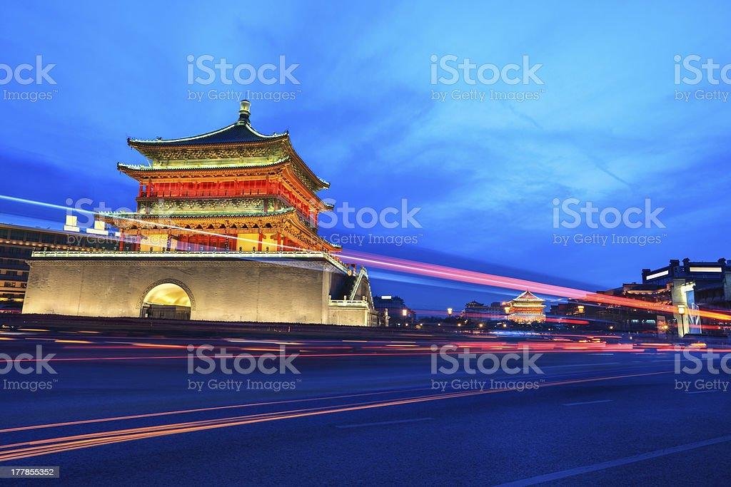 ancient city of xi'an at night royalty-free stock photo