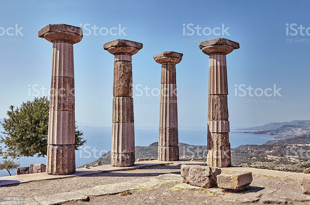 Ancient city ruins in Assos stock photo