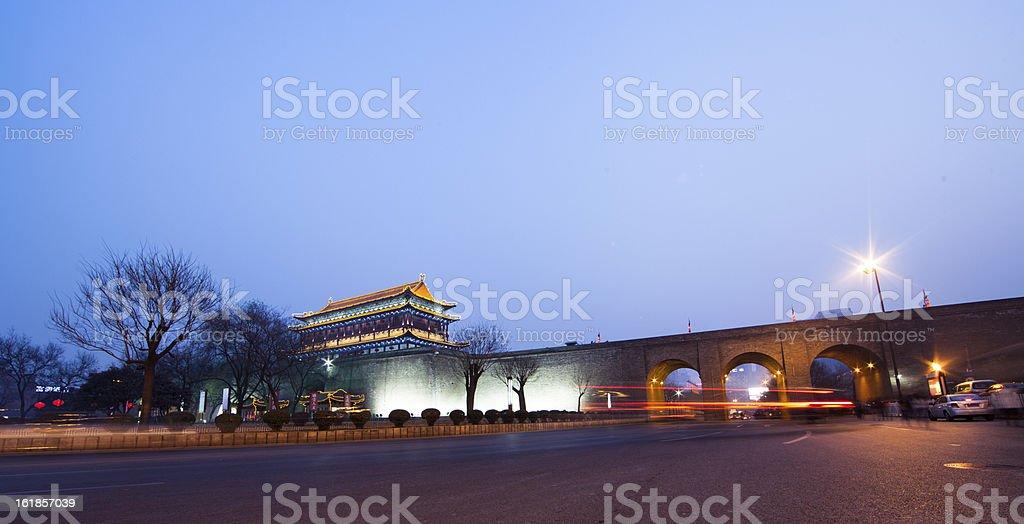 ancient city wall at night stock photo