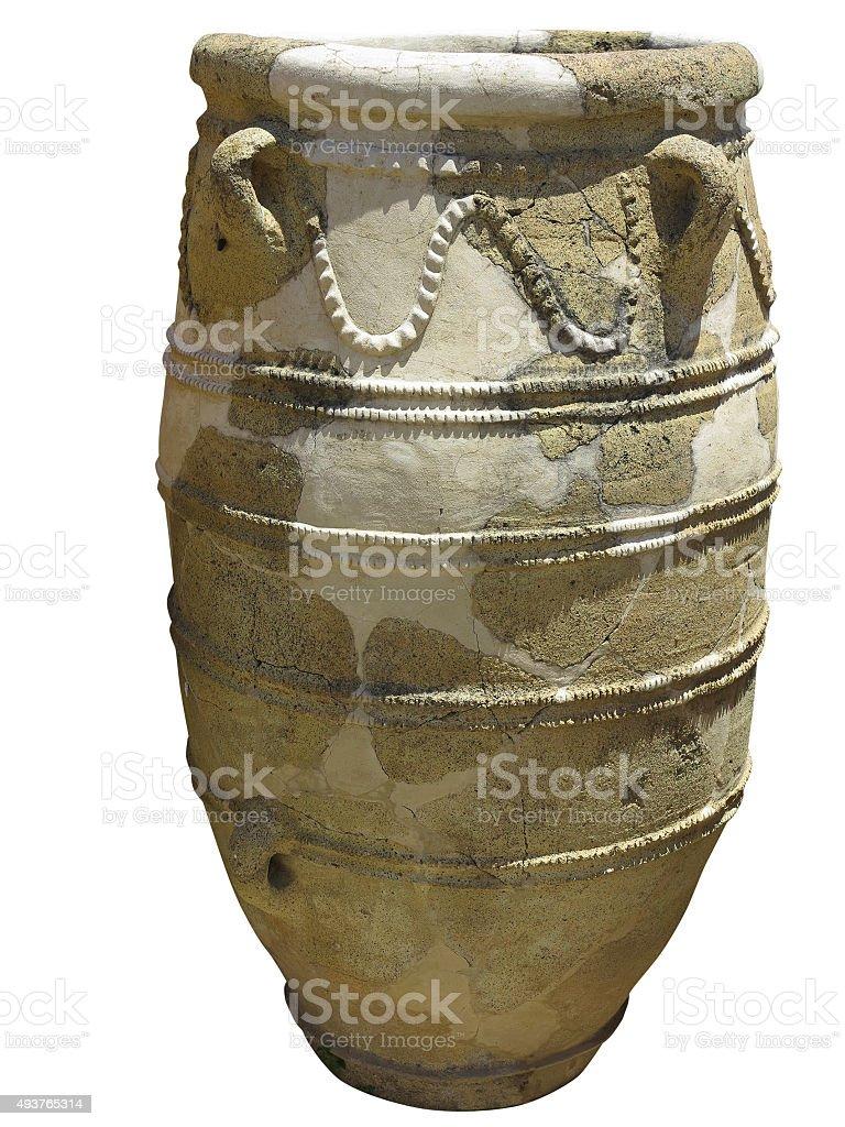 Ancient clay Minoan amphora in Crete, Greece stock photo
