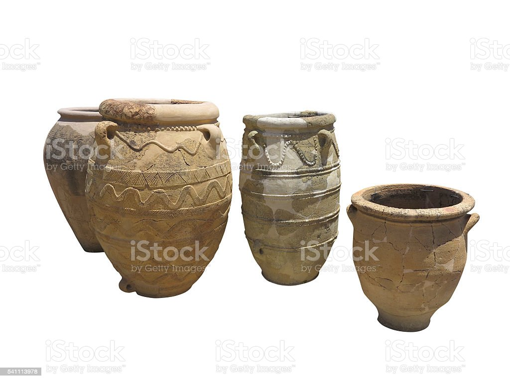Ancient clay Minoan decorated amphora isolated stock photo