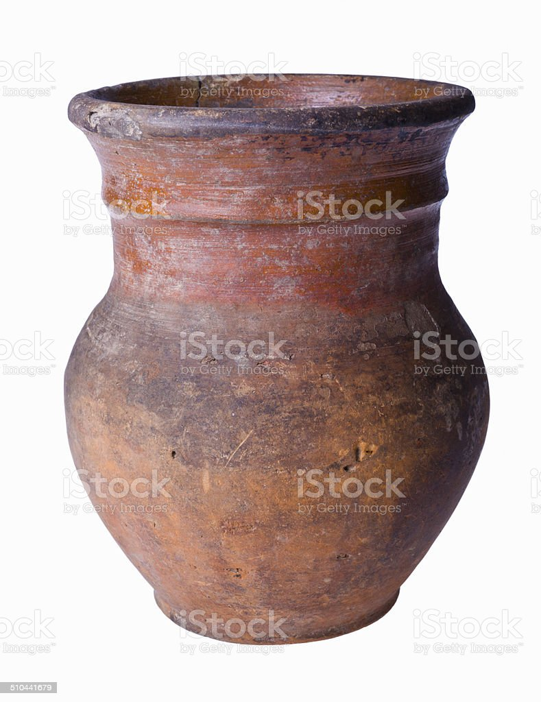 Ancient clay pot isolated on white background stock photo