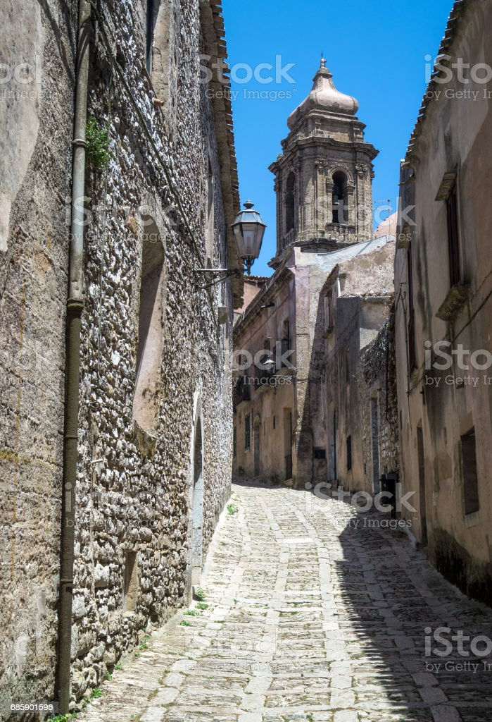 Ancient cobblestone street in Erice, Sicily stock photo