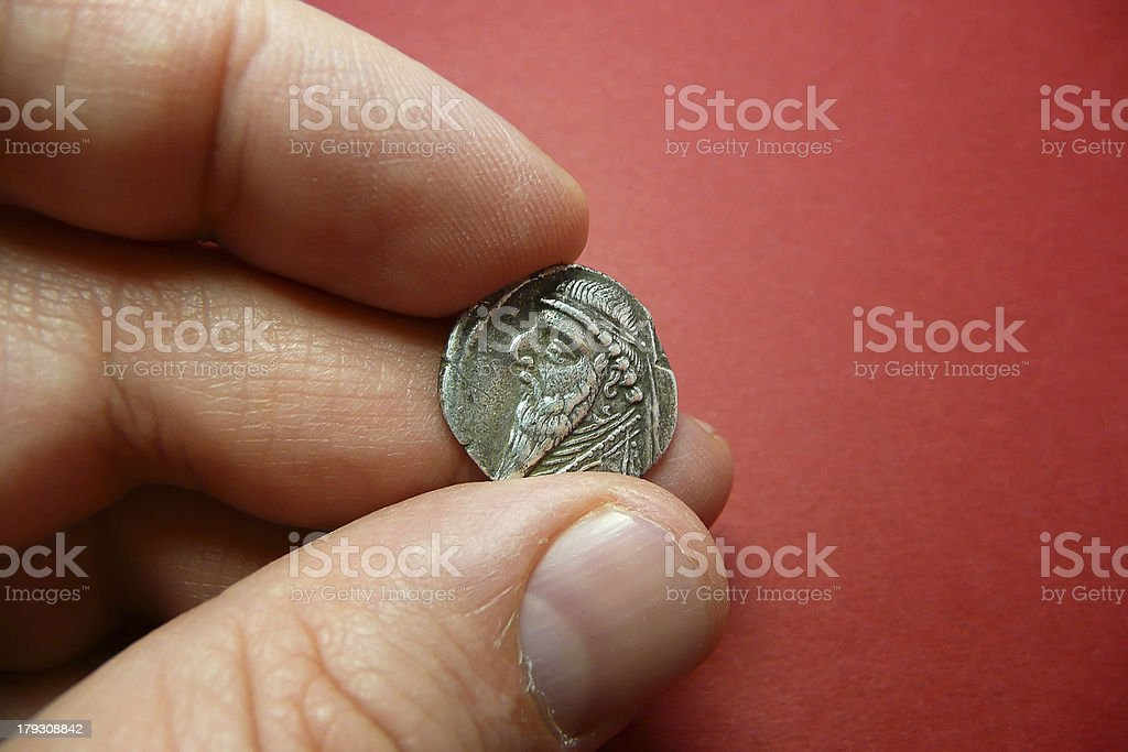 Ancient Coin of Mithridates II royalty-free stock photo