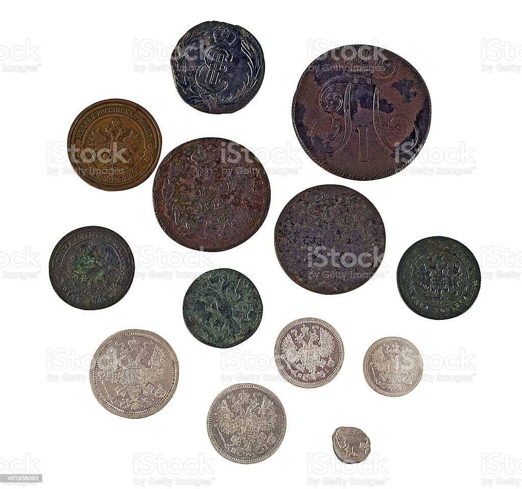 Ancient coins. reverse stock photo