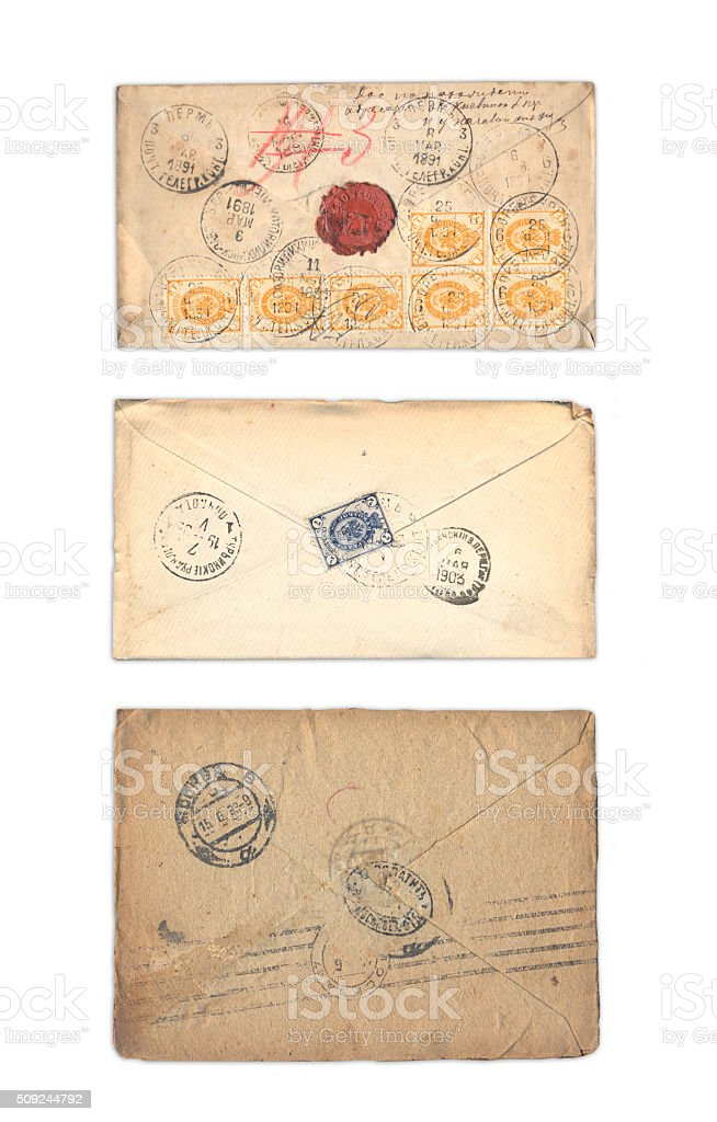 Ancient collection of envelopes stock photo