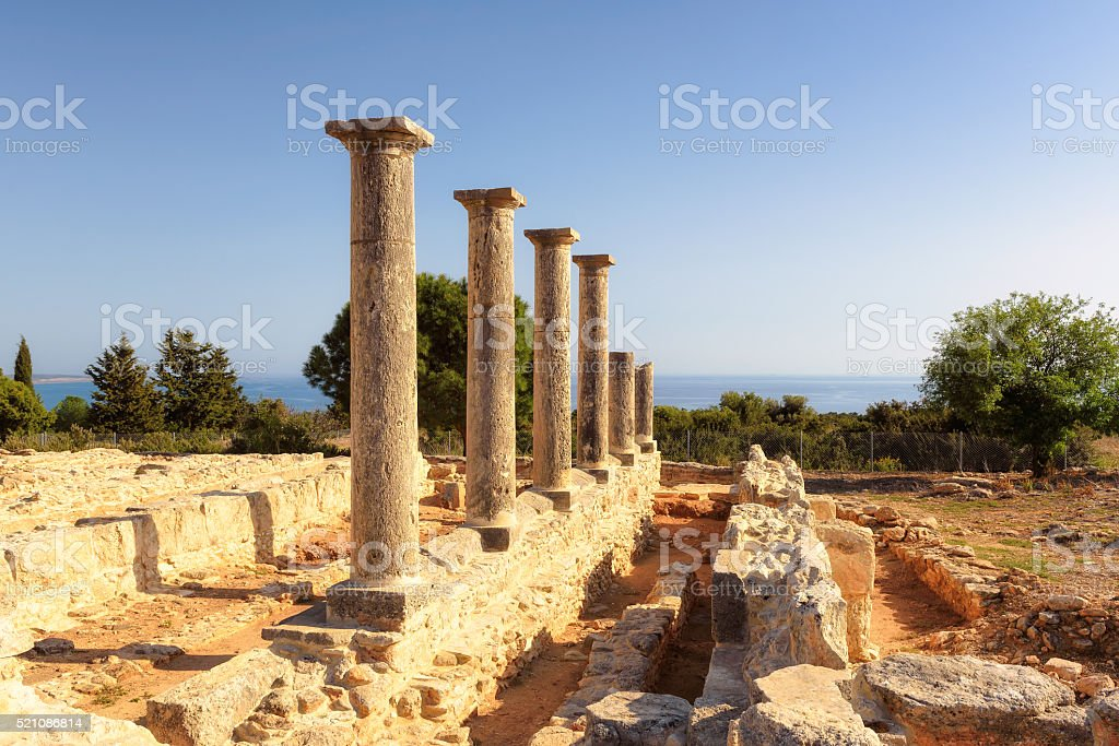 Ancient column at Sanctuary of Apollo Hylates. Limassol District. Cyprus. stock photo