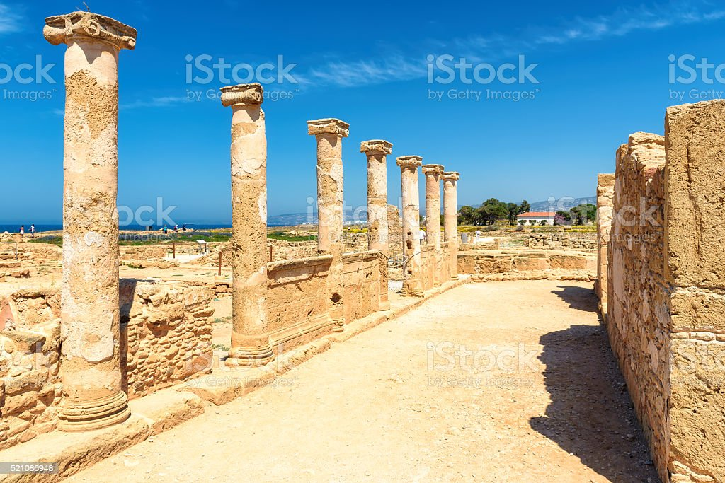 Ancient column, Paphos,  Cyprus. stock photo