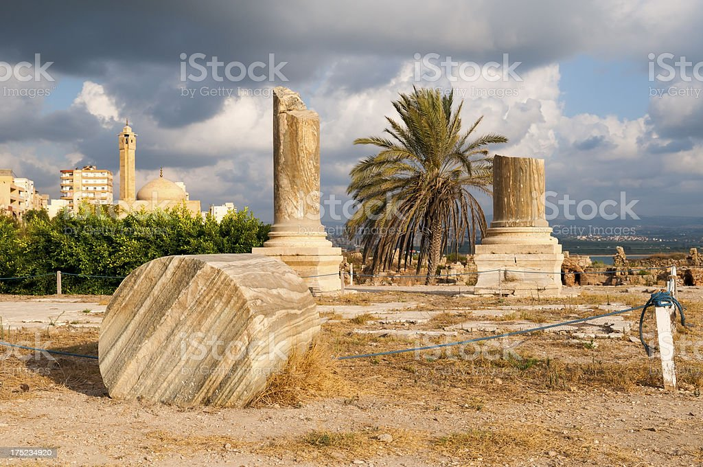 Ancient Roman ruins and city of Tyre, Lebanon royalty-free stock photo