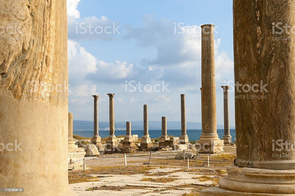 Ancient columns and Mediterranean Sea in Tyre, Lebanon royalty-free stock photo