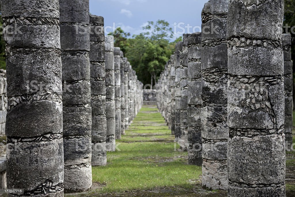 Ancient columns in Chichen Itza, Mexico stock photo
