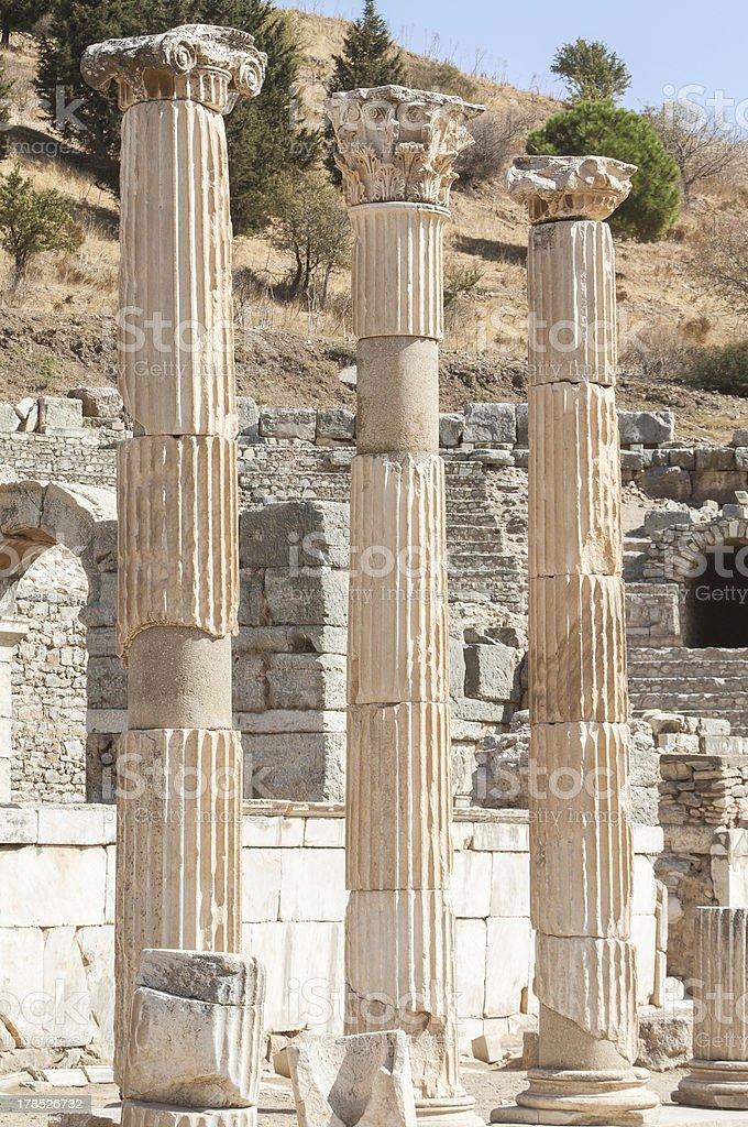 Ancient columns in Ephesus, Turkey royalty-free stock photo