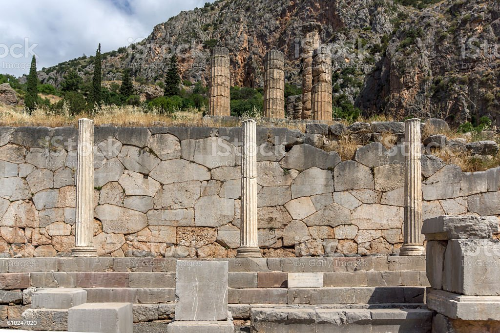 Ancient Columns in Greek archaeological site of Delphi, Greece stock photo