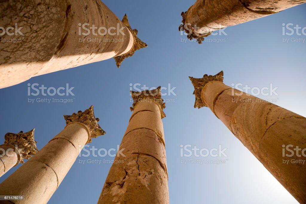 Ancient columns in Jerash, Jordan stock photo