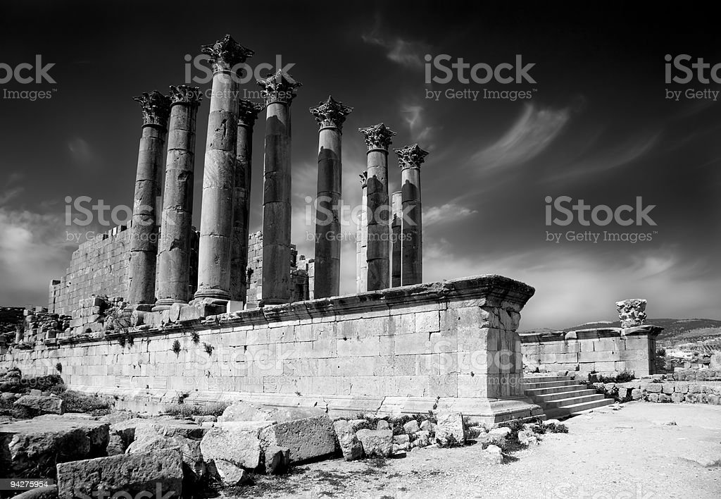 Ancient columns in Jerash, Jordan royalty-free stock photo