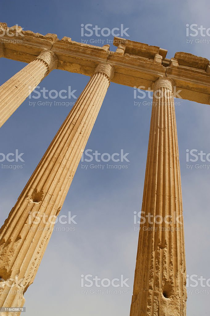 Antigas colunas de Palmyra, a Síria foto royalty-free